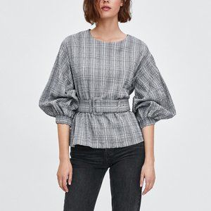 ZARA Checked Top with Belt NWT